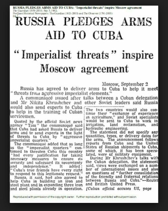 #communistpov  from theguardian.com This article is different in the dact that it states why the communist put  the missles there. It was their perspective. #cuban #missle #crisis