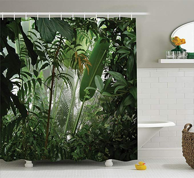 Ambesonne Rainforest Decorations Shower Curtain Set Tropical