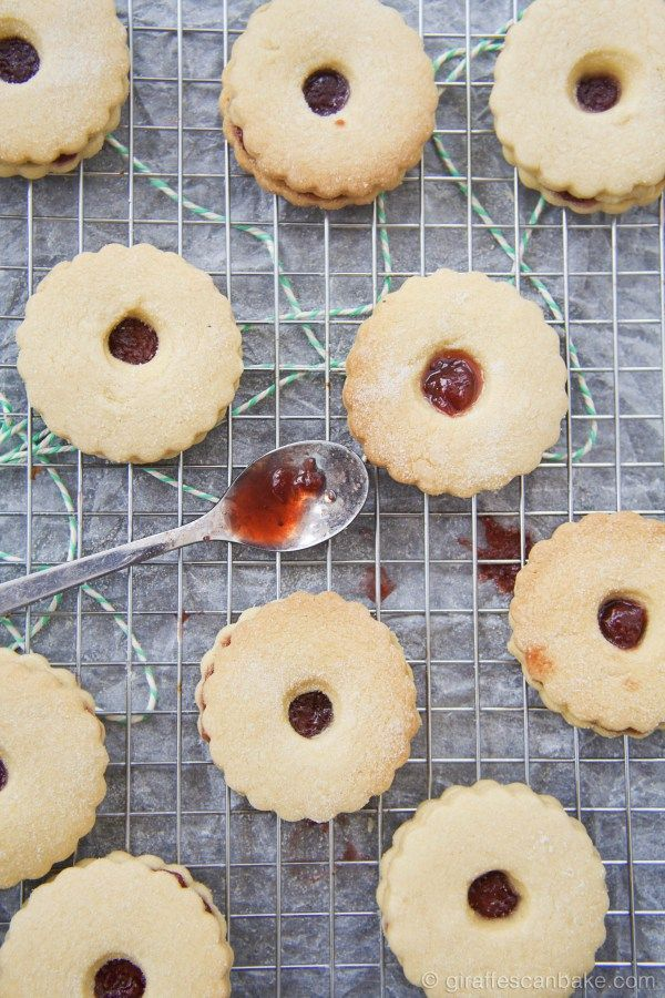 Homemade Jammie Dodgers by Giraffes Can Bake - Buttery shortbread cookies sandwiched with homemade Strawberry Jam. The classic British snack, beloved by the Eleventh Doctor. Britain's answer to the Linzer Cookie
