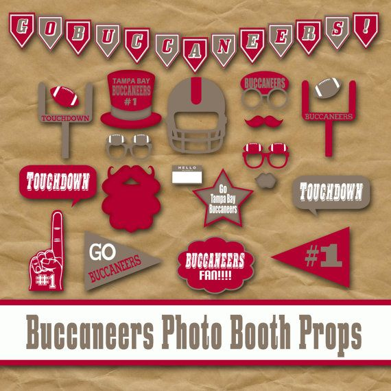 Tampa Bay Buccaneers Photo Booth Props and decorations, nfl football, great idea for a birthday party!
