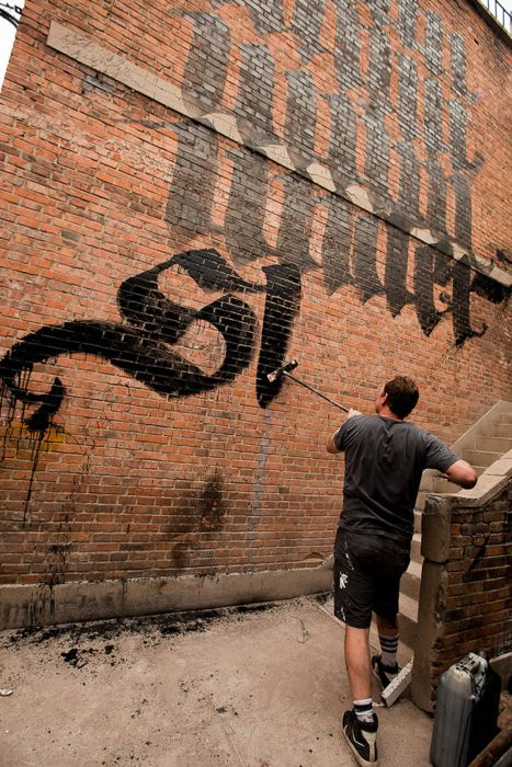 Calligraffiti by Niels Shoe Meulman - Broom and China ink on brick wall (18 x 30 ft) Dashilar, Beijing 2011
