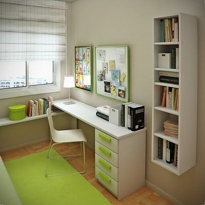 Minimalist kids study room. Muted wall, bright accents. White furniture.
