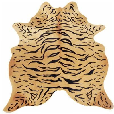 This stenciled tiger on acowhide can be a great accent piece in any room. It will look greatina home or office with styling ranging fromSouthwestern to modern.Brazilian cowhides are the highest quality due to their more supple hide and crisp colors. These beautiful natural cowhides are durable and will last a very long time. Below are the average sizes which are measured from the longest points of the cowhide: Average Size: 7' x 6' Cowhides are all unique! You will receive a hi...