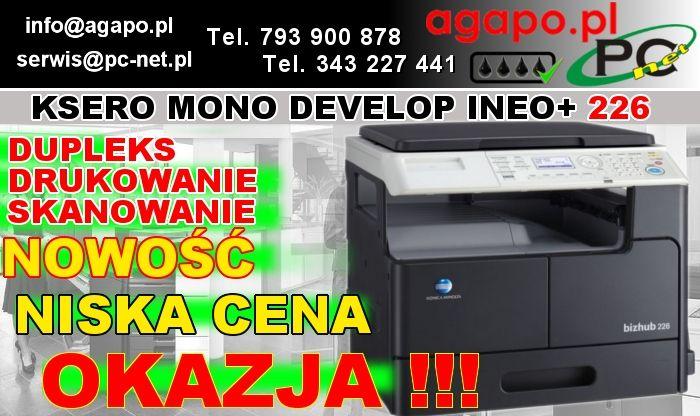 Konica Minolta bizhub 226 to wielofunkcyjne urządzenie do druku monochromatycznego (czarno-białego), przeznaczone dla małych i średnich przedsiębiorstw. Duża funkcjonalność, drukowanie i kopiowanie z prędkością 22 str./min. kolorowy skaner jak również wysyłanie i odbieranie faksów (opcja). Pojemność papieru do 1350 arkuszy w 5 tacach, dobierana stosownie do potrzeb. Urządzenie wykonane z wysokojakościowych materiałów zajmujące niewiele miejsca i ważące niewiele, a mimo to stabilne i…