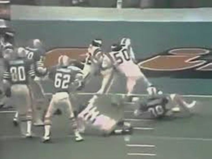 Dolphin RB Larry Csonka scores 1st, his 2 rushing TDs in Super Bowl, VIII against Vikings, 1st Quarter 5-yd. run as his 'Phins go on to defeat Vikes, 24-7 to successfully repeat as winners, Pro Football's showcase game
