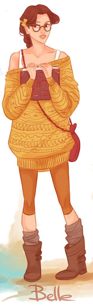 Check out more of these fashionable Disney princesses with hipster flair. Belle is bookish chic in her oversized sweater. Illustration by Victoria Ridzel