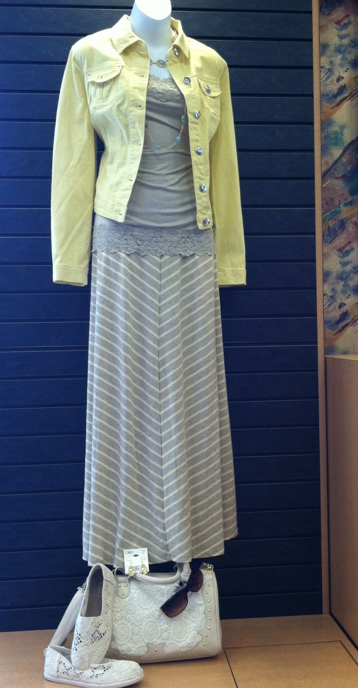 Maxi skirts and a denim jackets are a spring essential. #catofashions