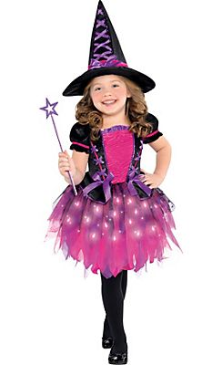 Toddler Girls Light-Up Sparkle Witch Costume