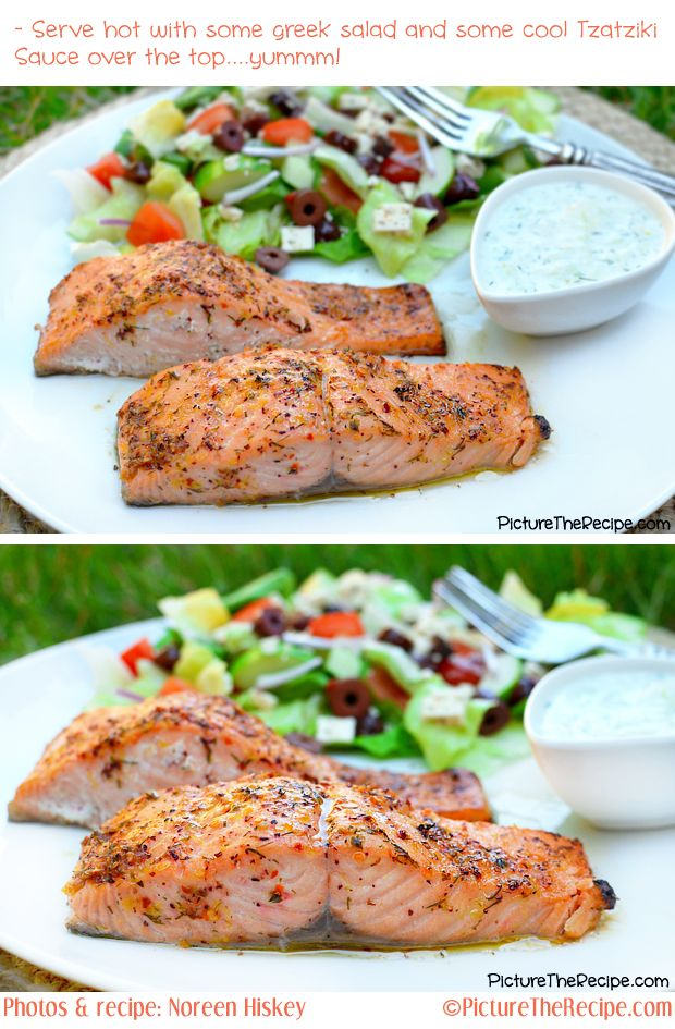 Greek Marinated Salmon with Tzatziki Sauce | Picture the Recipe