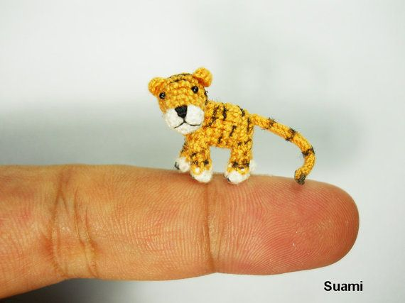 Micro Baby Tiger -  1 Inch Scale Thread Crochet Yellow Tiger  (I Love these lil sweeties!)