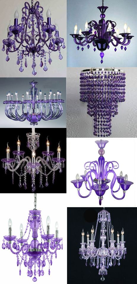 different tints of purple chandeliers
