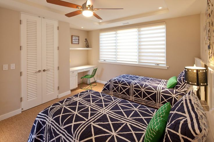 Small built in desk bedroom beach style with kids bedroom louvered closet doors built-in desk