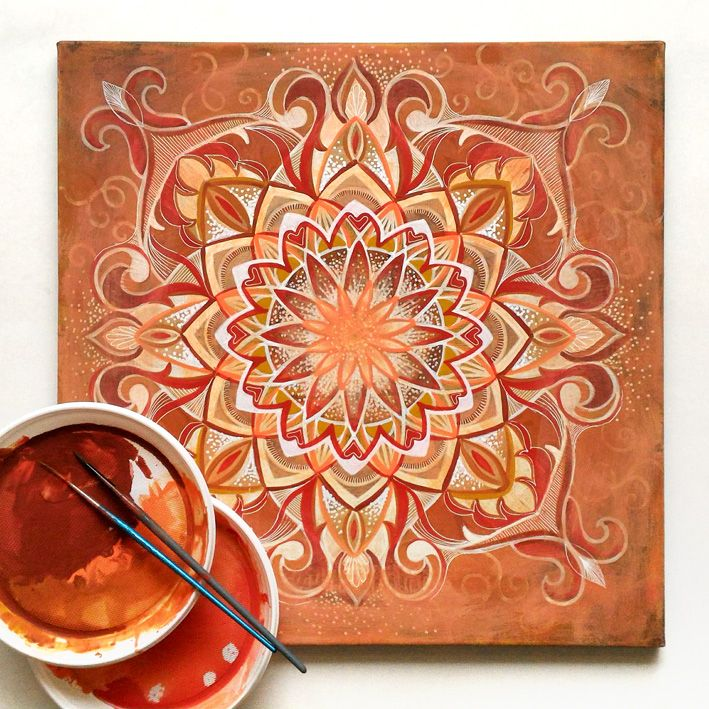 Mandala acrylic painting on canvas by Egle Stripeikiene.