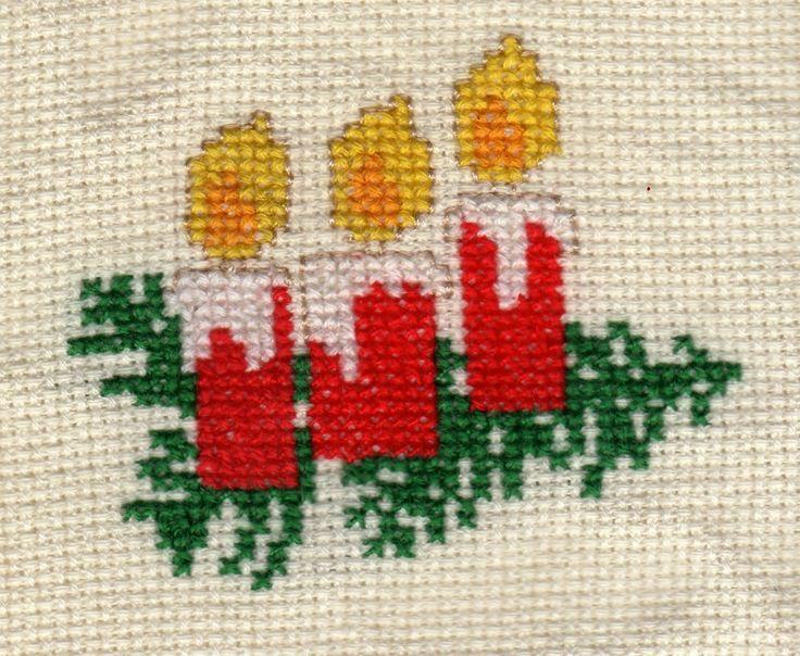 Punto de Cruz GRATIS: Velas de Navidad