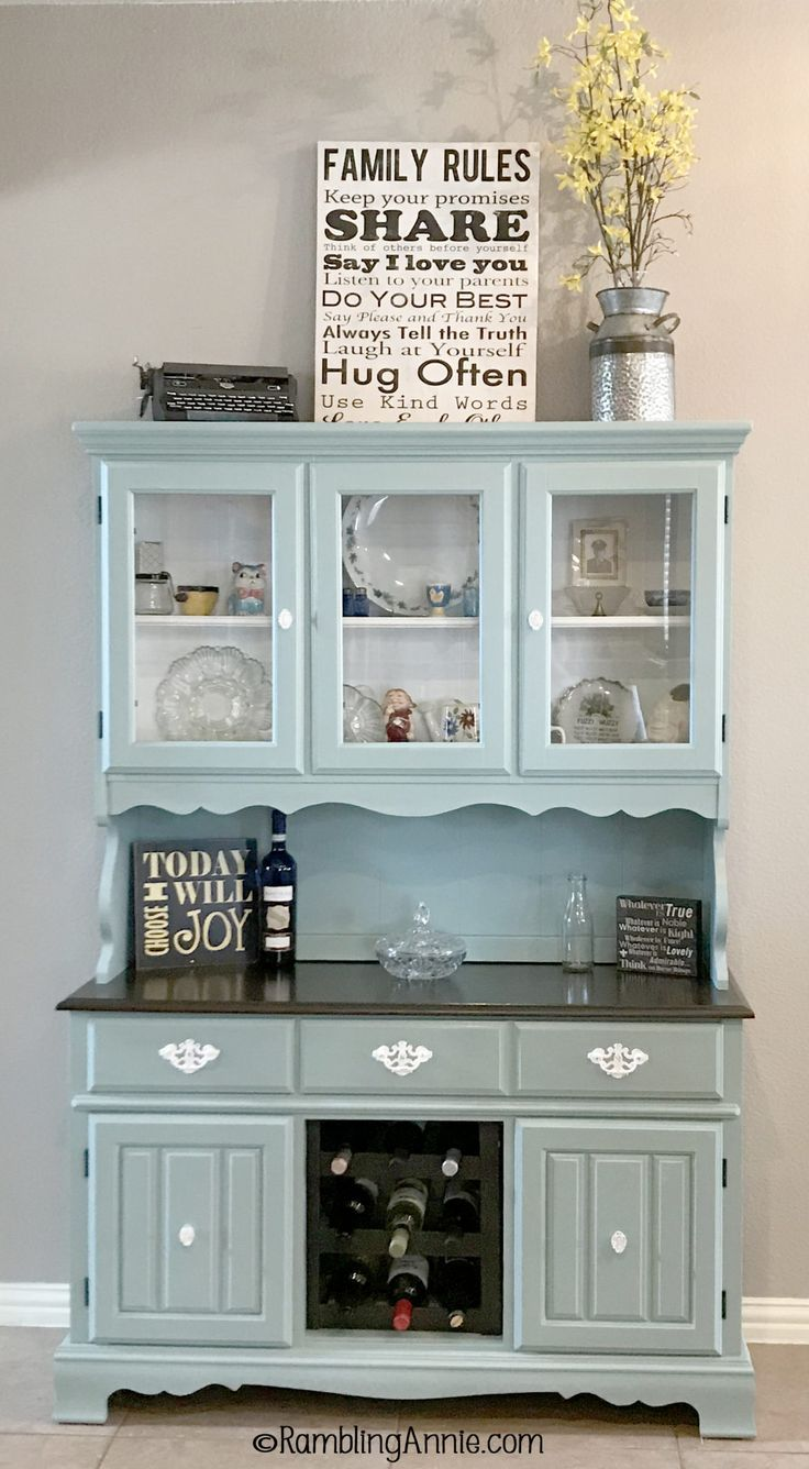 Craigslist China Hutch Makeover from Laminate to Robin's Egg Blue  #Blue #China #Craigslist #…