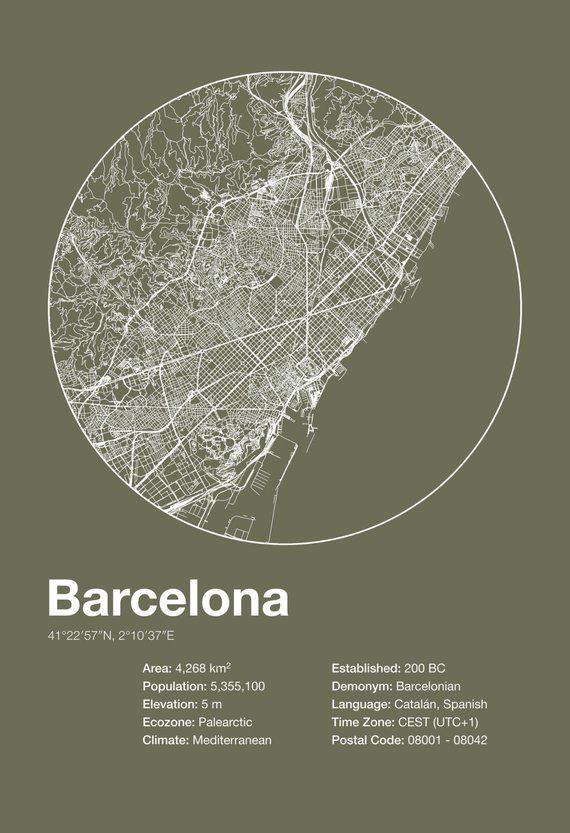 Street Map Art City Print – Barcelona, Spain – Min…