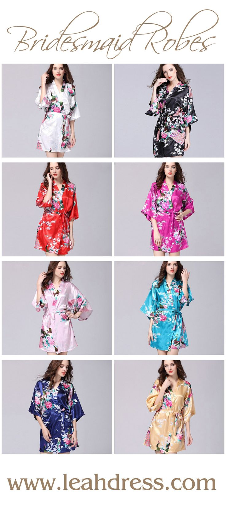 Gorgeous Cheap Bridesmaid robes | A bridesmaid gift your girls will love! Wear for getting ready on your wedding morning. shop at www.leahdress.com