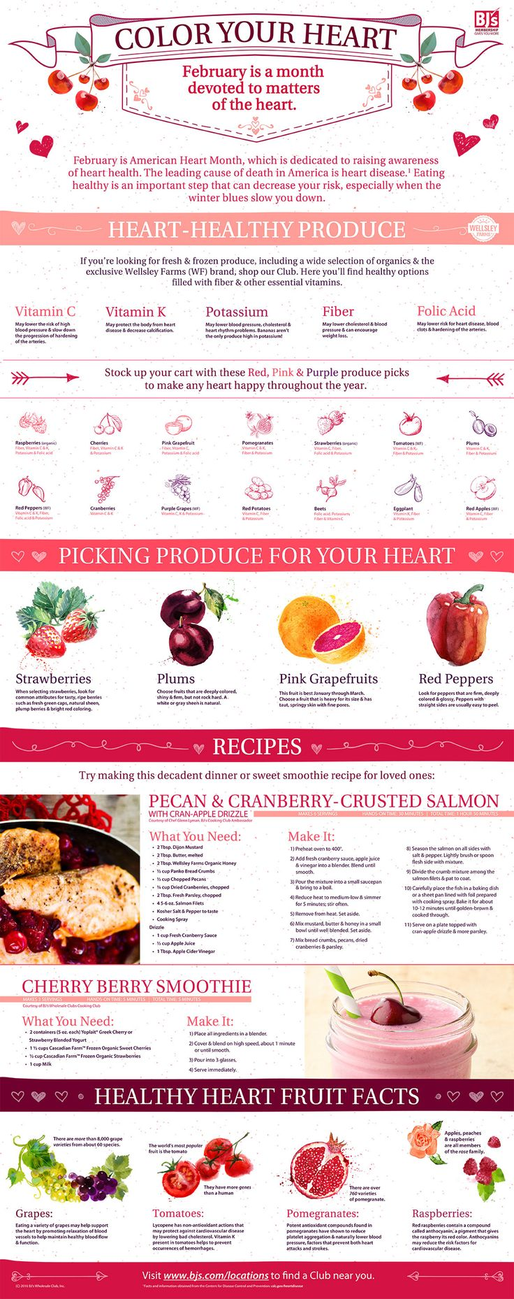 BJ's Color Your Heart Infographic for Heart Health Month with a recipe for a Cherry Berry Smoothie and Pecan & Cranberry-Crusted Salmon.