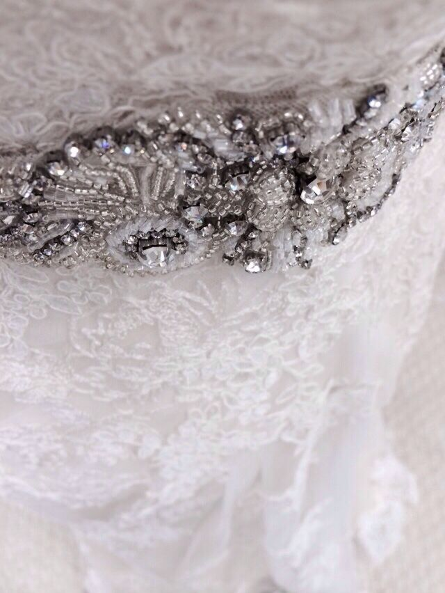 Pretty lace dress with belt and broach