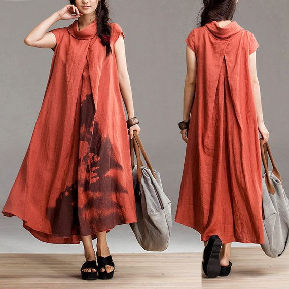 Ethnic style orange linen dyeing short sleeve dress / casual dress long section Maxi Dress