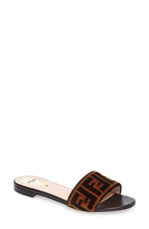Fendi Logo Slide Sandal (Women)   Fendi