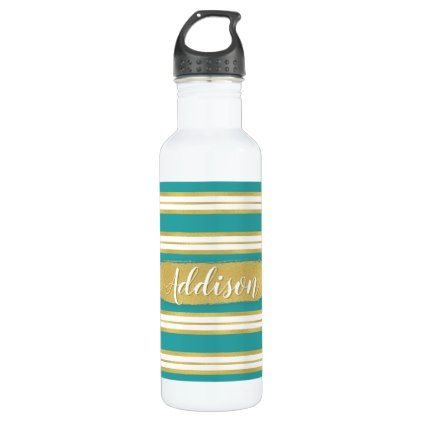 Aqua Blue Gold Stripe Pattern Custom Name Water Bottle - girly gifts special unique gift idea custom