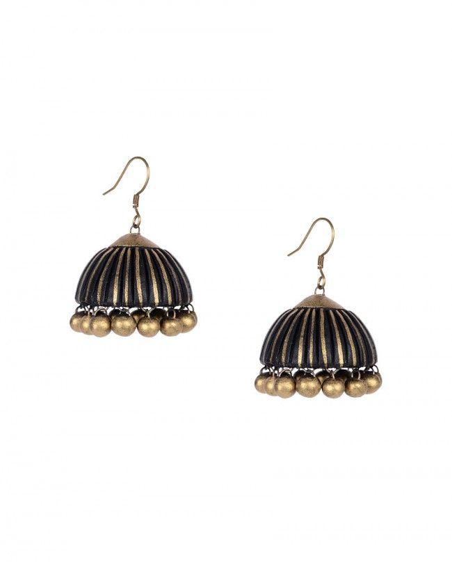 Jet Black Jhumki Earrings- Maatikaar Shop Now: goo.gl/81frBe #Maatikaar #Terracotta #Jewelry #Jewellery #Accessories #Earrings #Pendant #Necklace #Bangle #Bracelet #Lotus #Jhumki #Ganesh #Motif #Beads #Gold #Red #Blue #Green #Black #Silver #Color #Colour #Summer #Unique #Fashion #Desi #Indian #India #Designer #Nature #Intricate #Beautiful #Luxury #Exclusivelyin
