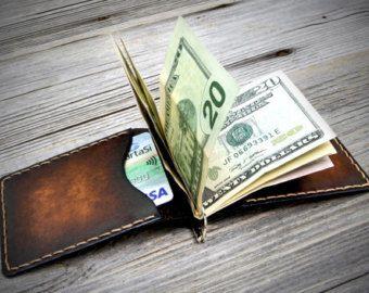 Leather Money Clip Wallet. Handmade Money Clip Wallet. Leather Clip Wallet. Money Clip Wallet.