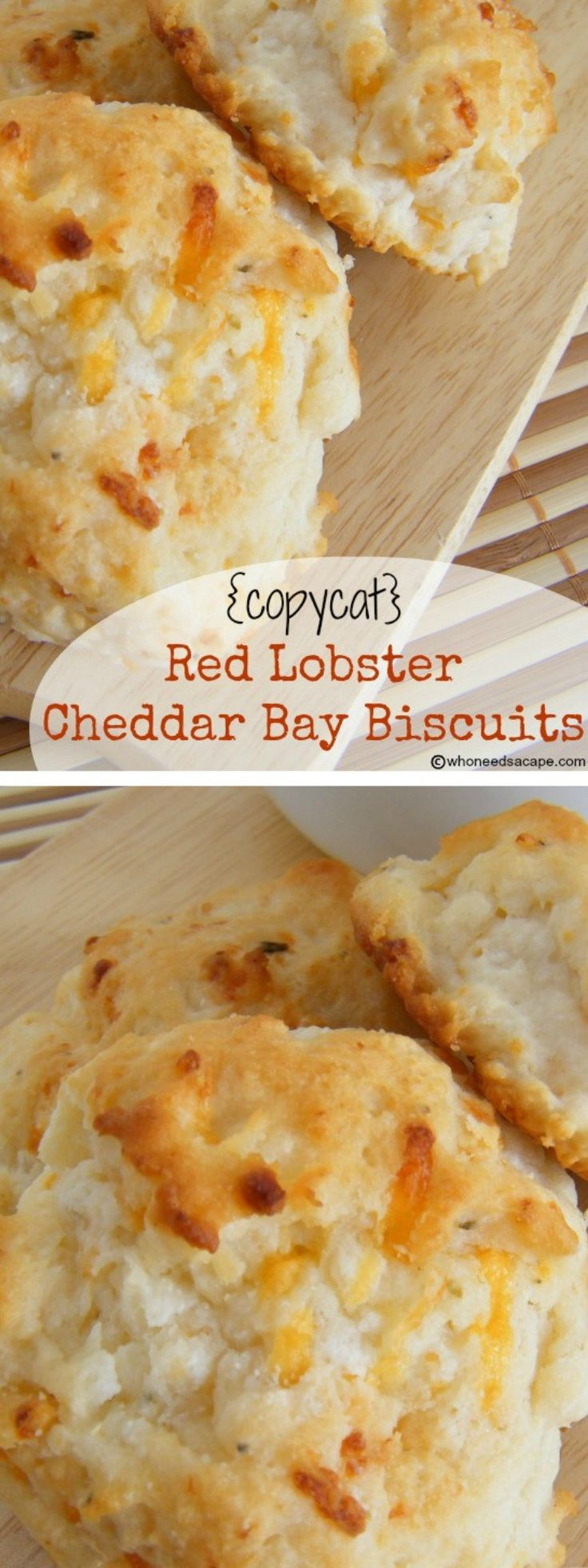 Make these famous restaurant biscuits at home! {copycat} Red Lobster Cheddar Bay Biscuits are unbelievably easy to prepare and oh so good! | Who Needs A Cape? {pinned over 4.5K times}
