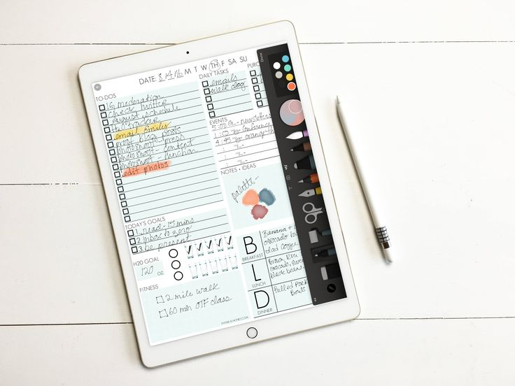 Avid organizer and an iPad pro user? This listing provides you with a .jpg file of my Daily Page Notepad that can be opened in several apps and used to plan and organize your day, track your water consumption, fitness, meal planning + more! To use the file I prefer using the Paper53 App. Simply save the image to your iPad Pro and then open the image within Paper52 and write on it using your Apple Pencil. You can save the sheets within a work space and open a new one each day. Its fun and…