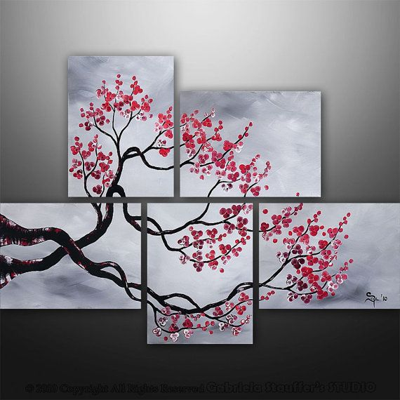 black white and red painting. I love this! Lauren :) CUSTOM PAINTING Abstract Modern Landscape Tree by GabrielaStauffer, $225.00