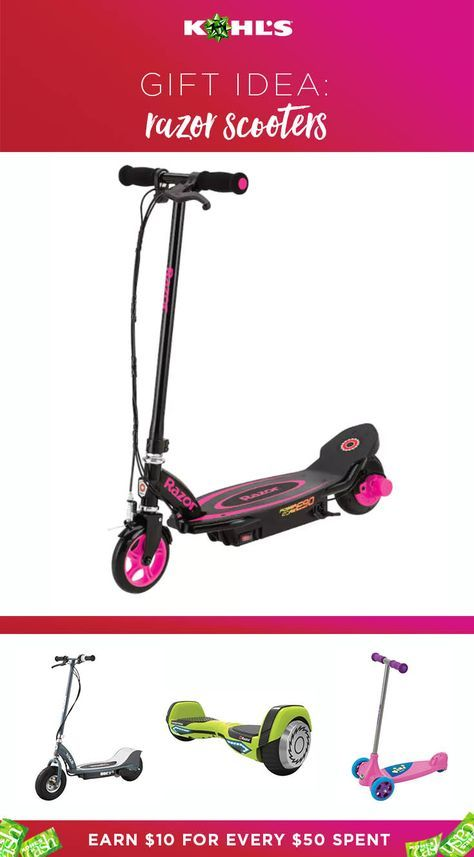 No need to reinvent the wheel when it comes to gift shopping for kids. Here's a tip: They love scooters. Get them Razor Scooters from Kohl's, and you'll earn yourself some Kohl's Cash. (Bonus!) We've got Power Core E90 Electric Scooters, E300 Electric Scooters, Hovertrax 2.0 Self-Balancing Scooters and Jr. Kixi Kix Scooters. Shop holiday gifts kids love at Kohl's.