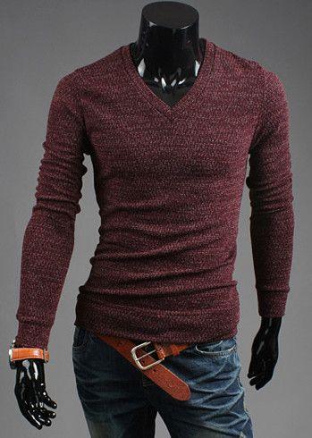 Korean Style V-Neck Solid Color Long Sleeves Cotton Blend Slimming Sweater For Men