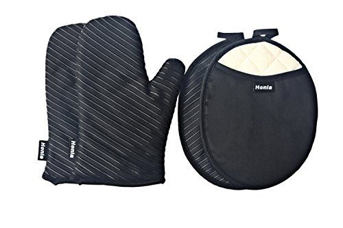 Quilted Cotton Pot Holders and Oven MittsGloves With Silicone Printed Stripes Style  Deluxe Terry Cloth Lining  2 Hot Pads and 2 Potholders SetBlack  Honla -- You can find more details by visiting the image link.Note:It is affiliate link to Amazon. #stars