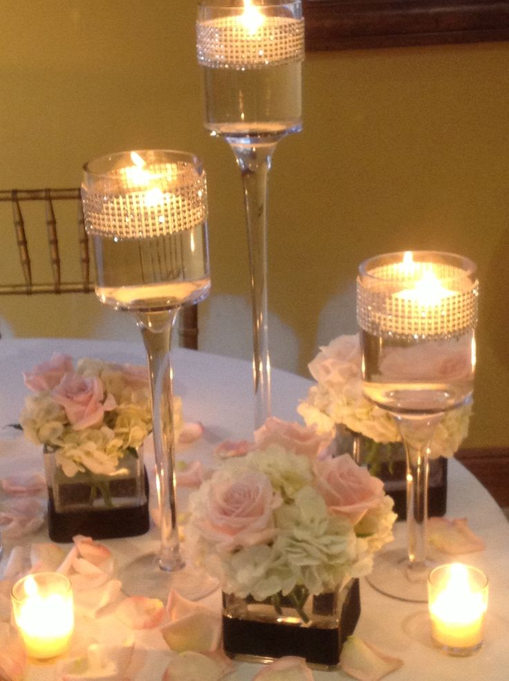 Wedding centerpiece of cube trio white hydrangea and