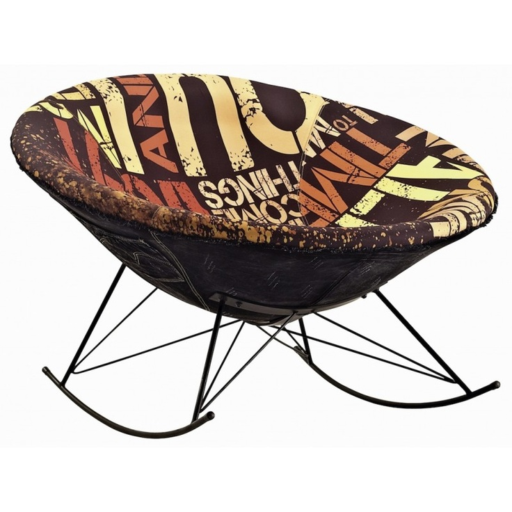 Contemporary Rocking Chair With A Funky Print And Denim Fabric Outside. Two  Pockets On The