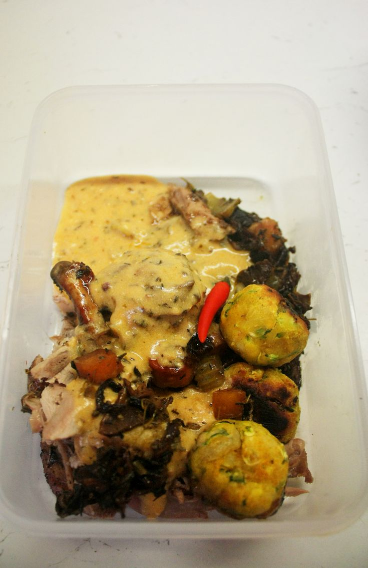 Jamaican-Spiced duck with Dudhi Kofta Curry (Indian Squash Dumplings) in the box to go