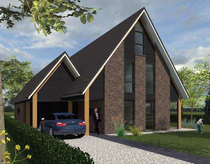 Een nieuw ontwerp van een eigentijdse schuurwoning. De schuurwoning kenmerkt zich door de combinatie van metselwerk en houten delen.