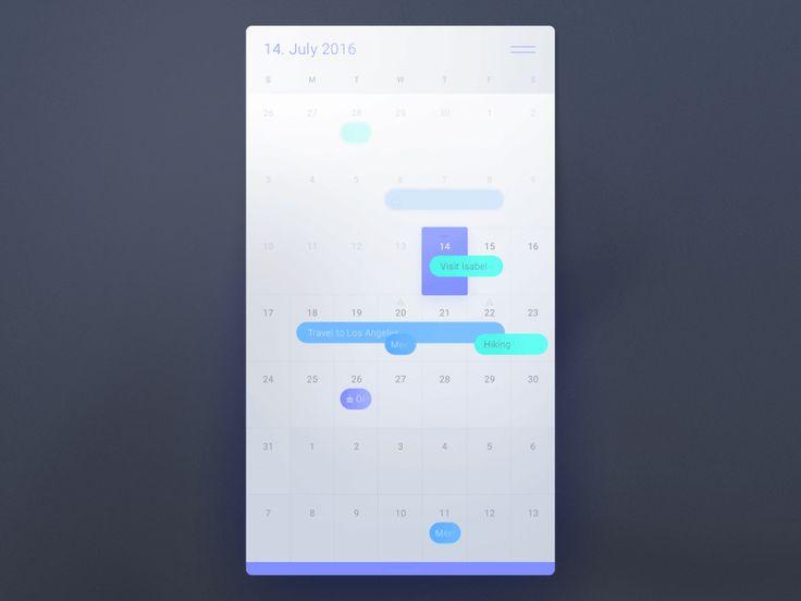 Azule Calendar by Roland Lehle #WeeklyUI #Challenge #UI #UX