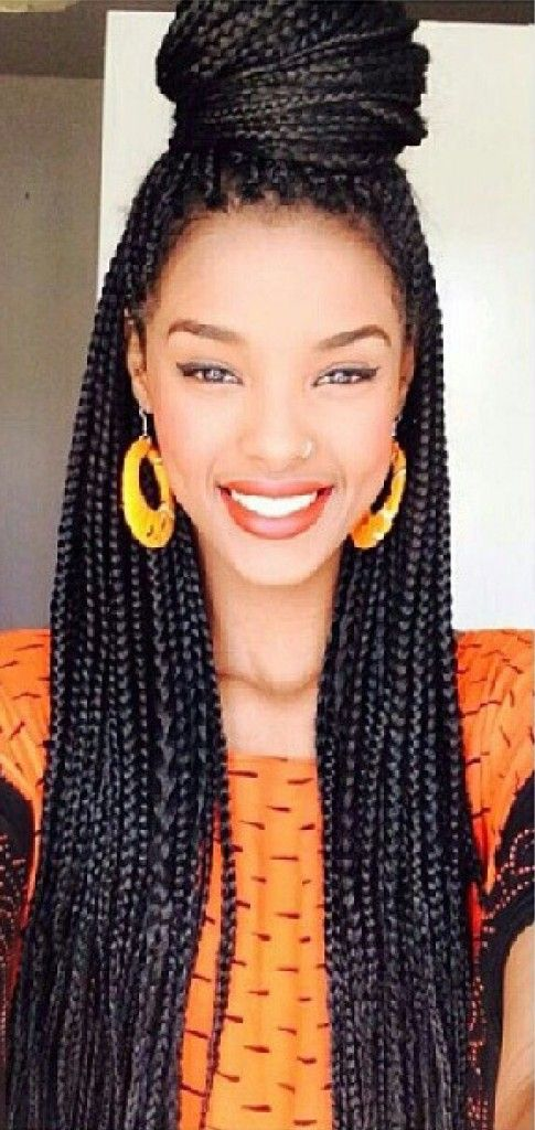 Fine Box Braids With Top Knot You Make The Hair The Hair Doesn39T Hairstyles For Women Draintrainus
