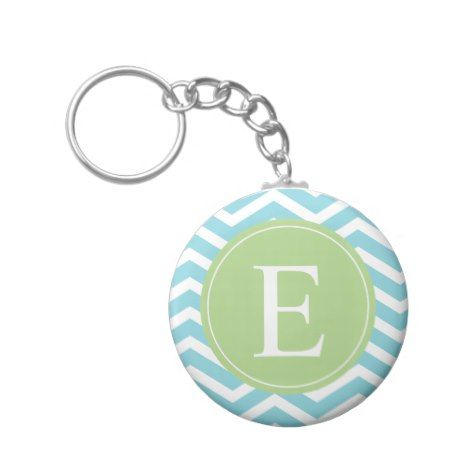 Blue Green Chevron Monogram Keychain #pastel #pattern #accessories