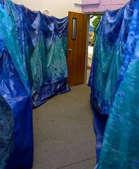 Walk through the Red Sea during Wilderness Escape VBS! -  you could use plastic table clothes