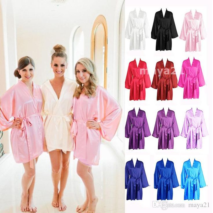 cheap bridesmaid and bride robes silk bathrobe wedding party robe