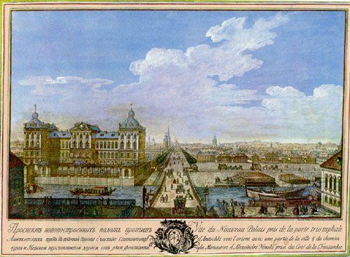 Anichkov Bridge and Anichkov Palace in 1753.