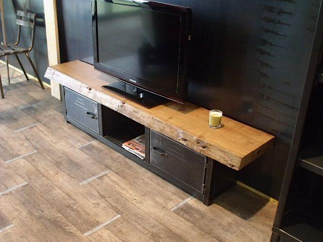 Meuble TV bois massif métal