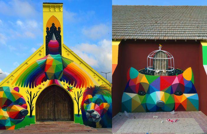 Deze kunstenaar tovert verlaten kerken om tot de meest kleurrijke kunstwerken