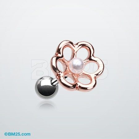 Rose Gold Pearl Flower Cartilage Tragus Earring