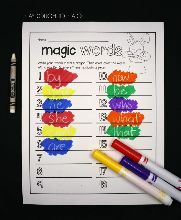 Write the words in white crayon and color over them with marker to make them magically appear!