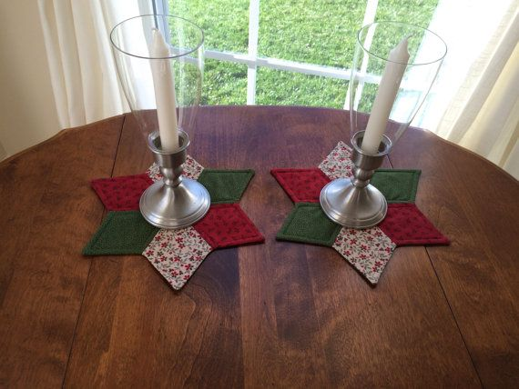 Christmas Quilted Star Candle Mats red green & beige by seaquilt