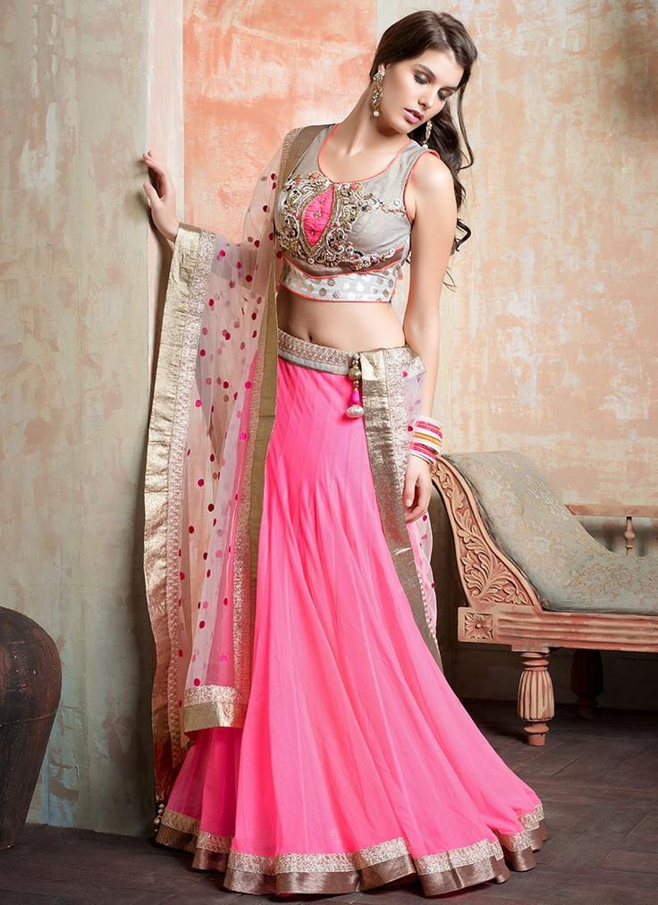 ornamental-pink-net-lehenga-choli #lehenga #choli #indian #shaadi #bridal #fashion #style #desi #designer #blouse #wedding #gorgeous #beautiful